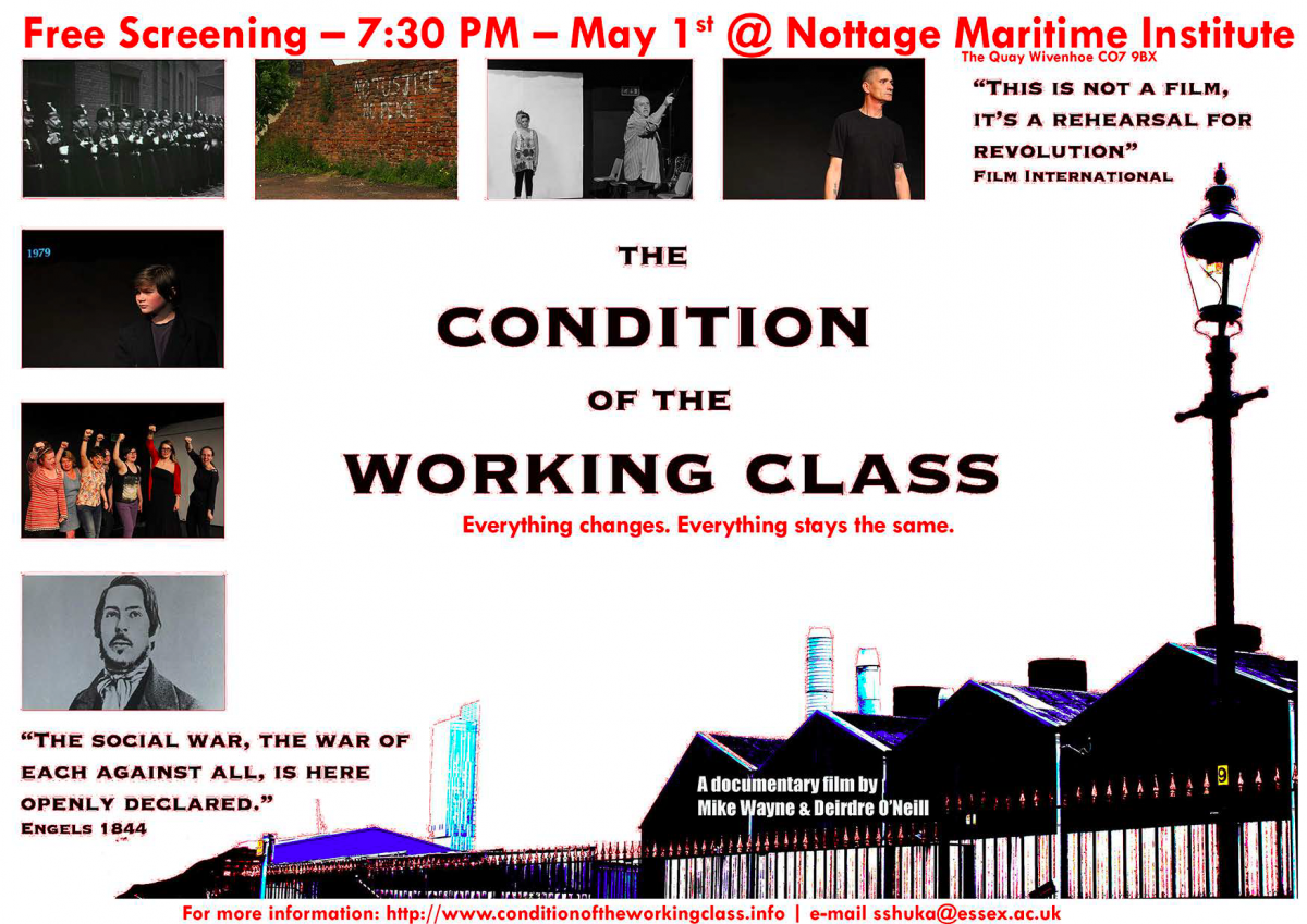 Screening of The Condition of the Working Class, May 1st, Nottage Maritime Institute, 7.30pm